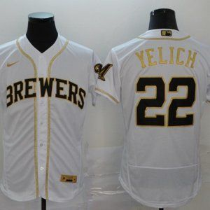 Brewers #22 Christian Yelich White Golden Jersey